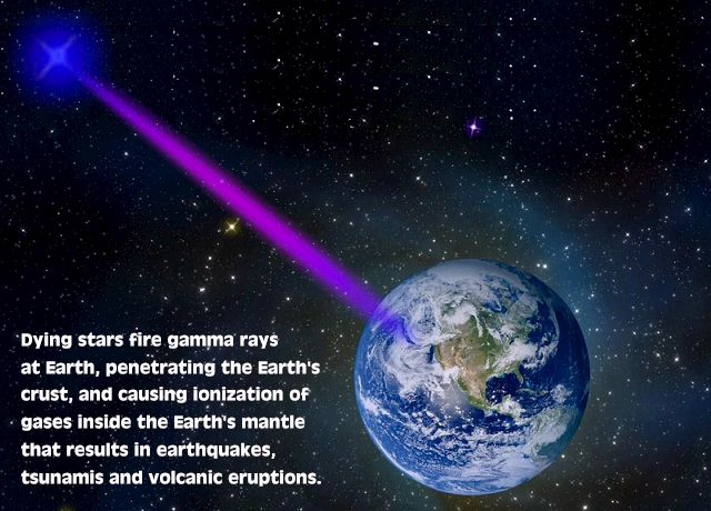 pulsars fire gamma rays at earth causing earthquakes