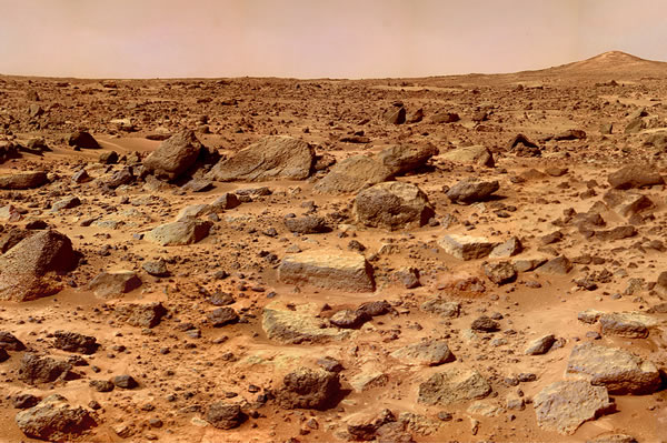 Iron oxide (rust) covering the planet Mars