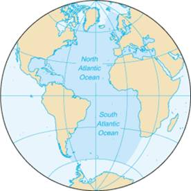 atlantic ocean world map